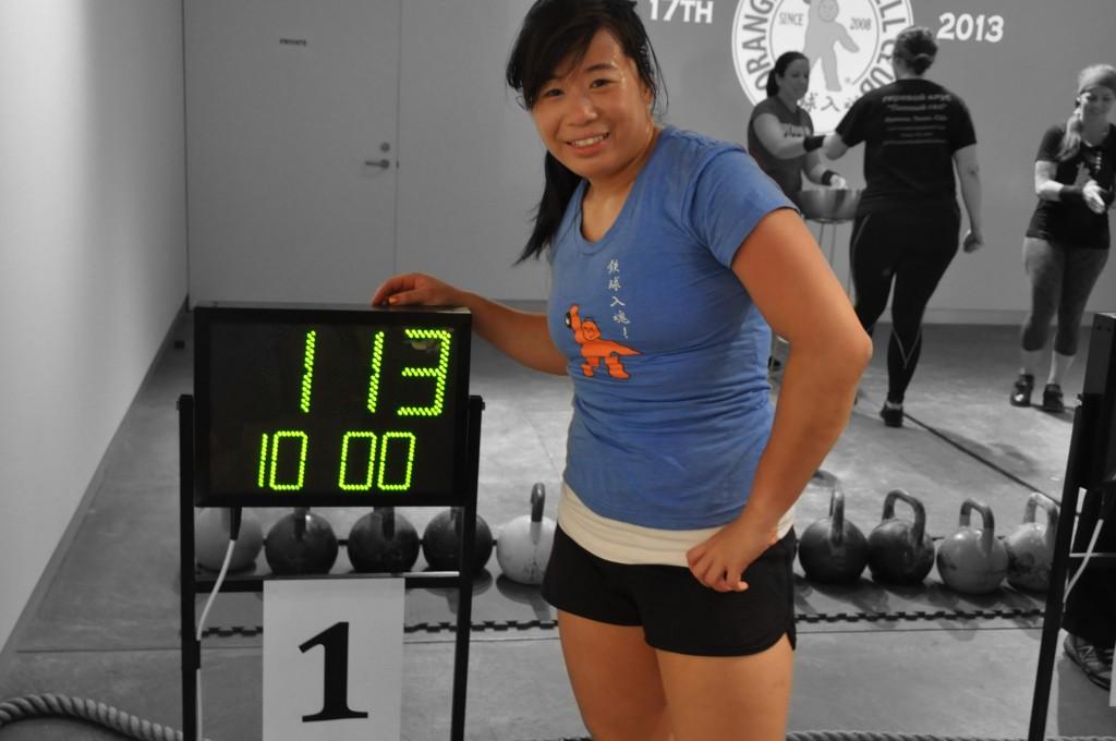 113 reps in 16kg long cycle.